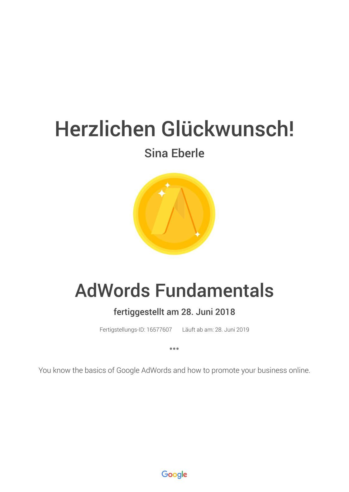 Google Zertifikat AdWords Fundamentals- Academy for Ads