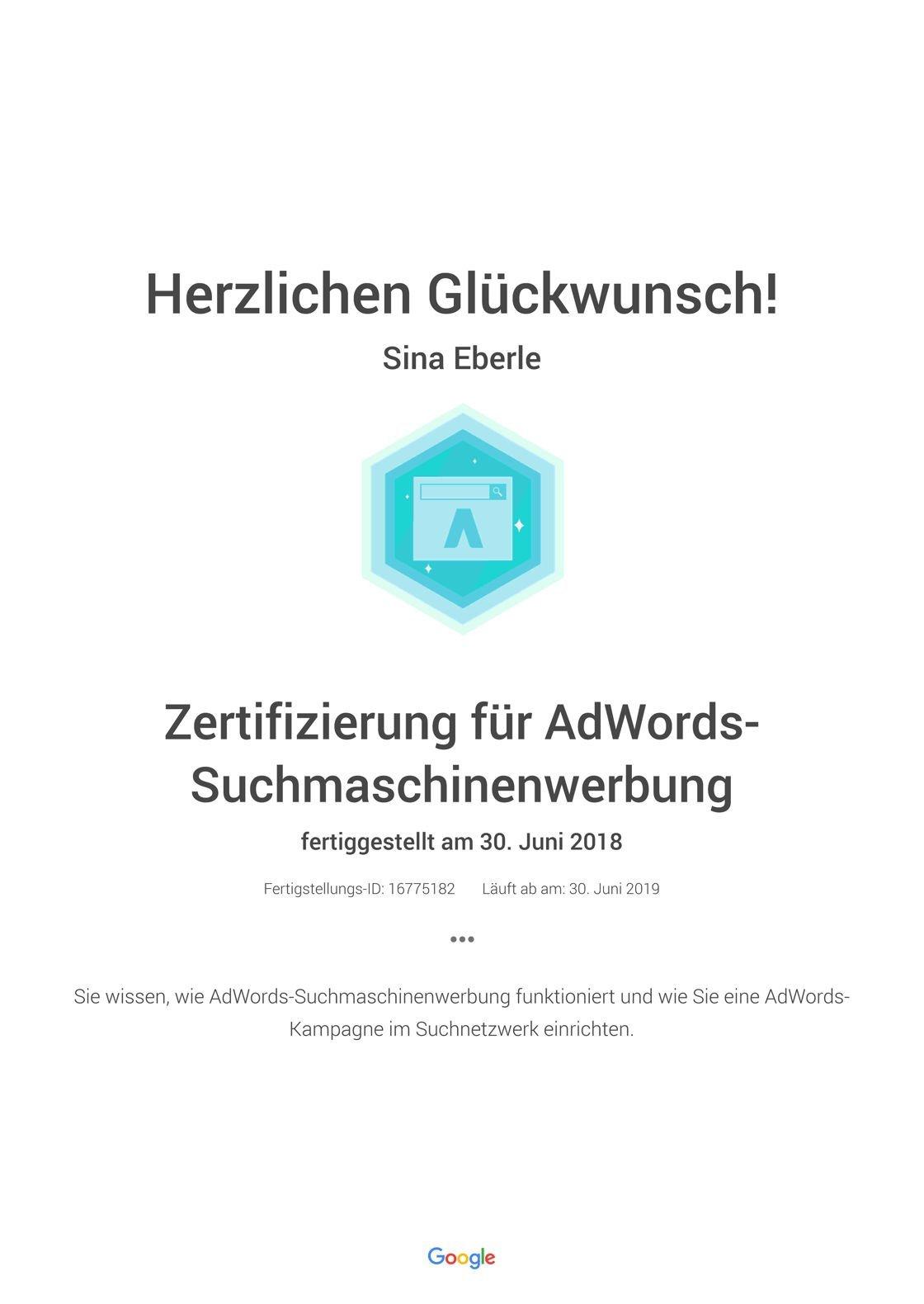 Google Zertifizierung für AdWords-Suchmaschinenwerbung