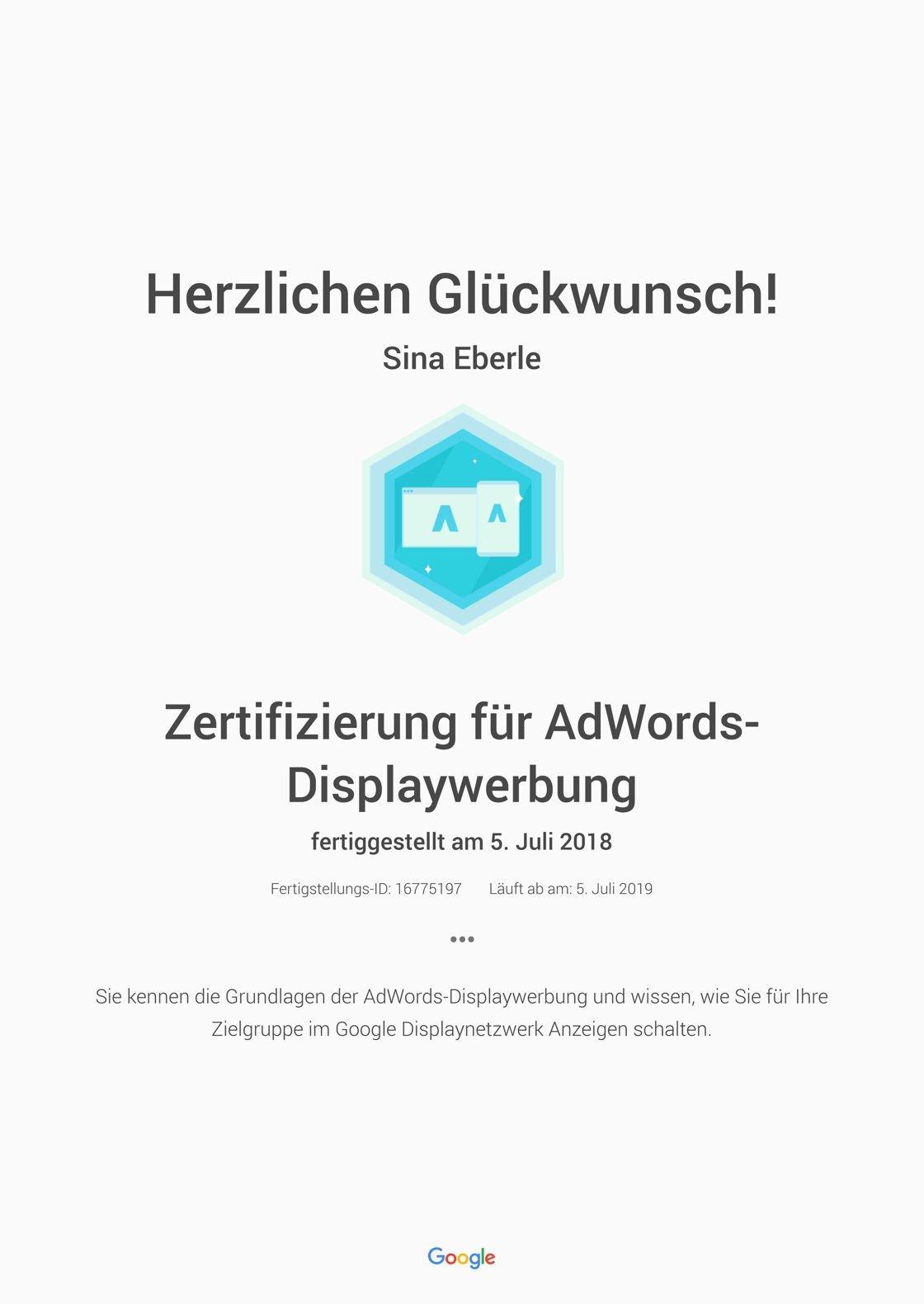 Google Zertifizierung für AdWords-Displaywerbung- Academy for Ads