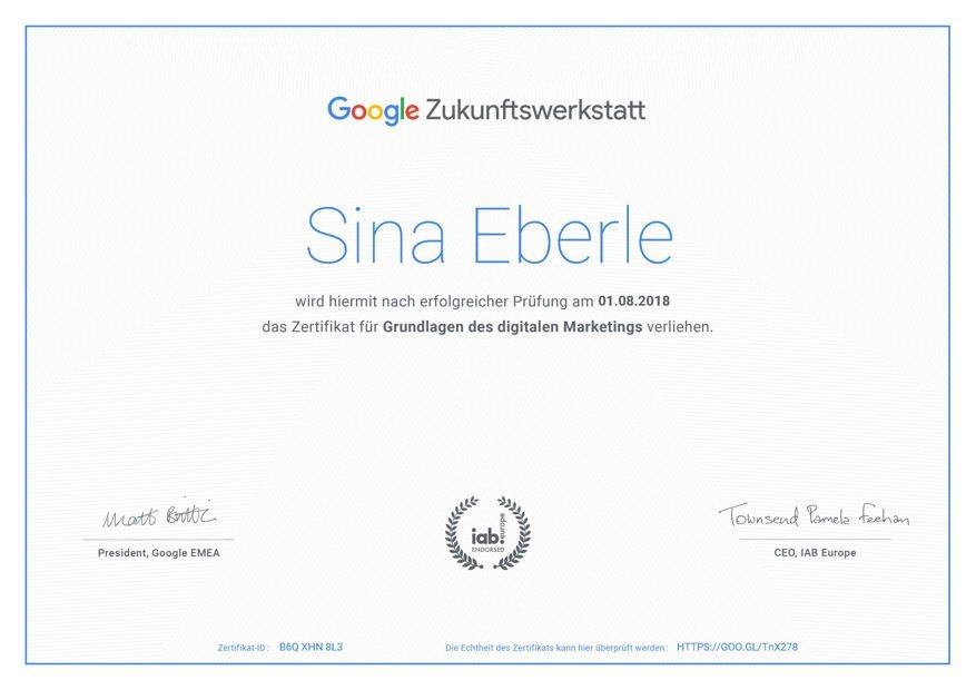 Social Media Google Zukunftswerkstatt Zertifikat