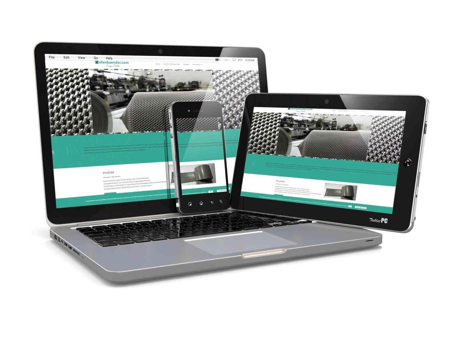 Kunden Webseiten: Internetseite Ofenbaender Furnacebelt deutsch englisch