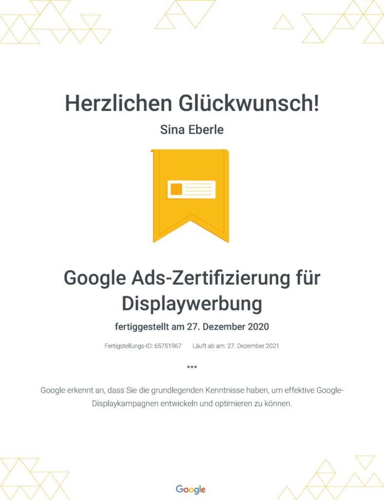 die eberin Google Zertifikate Google Ads-Zertifizierung für Displaywerbung _ Google