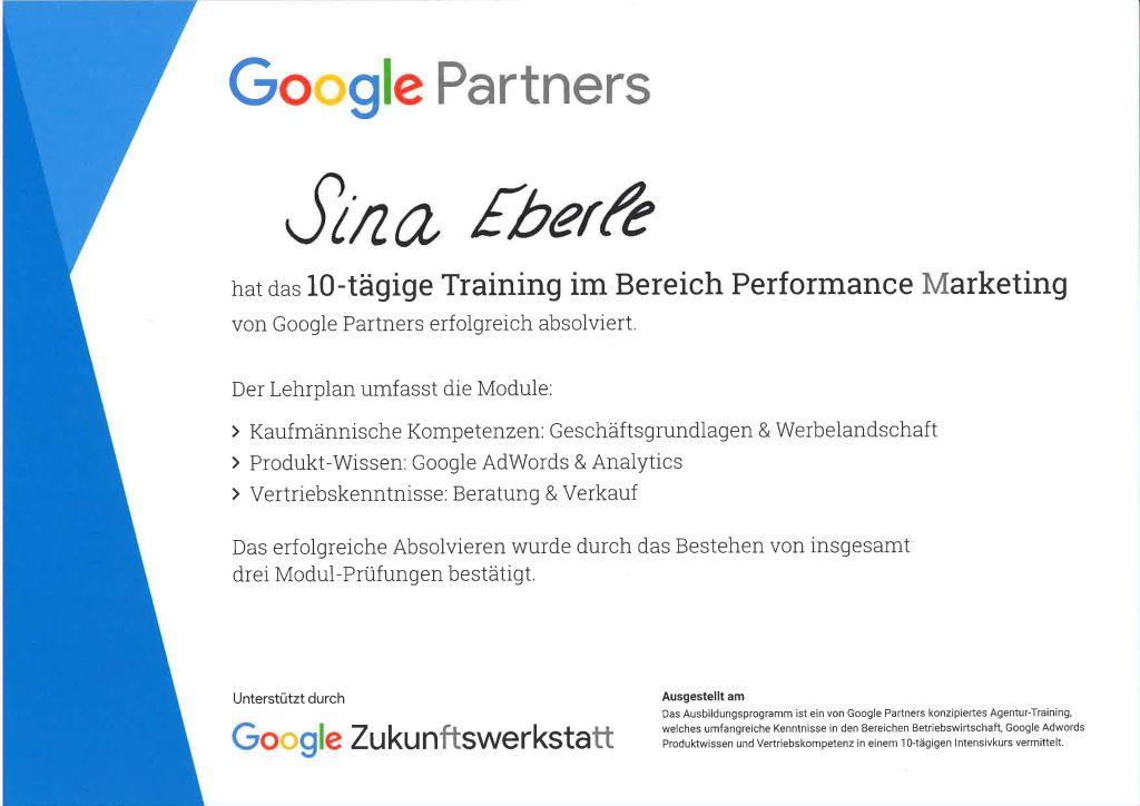 die eberin Google Zertifikate Google Partner Programm Training Performance Marketing