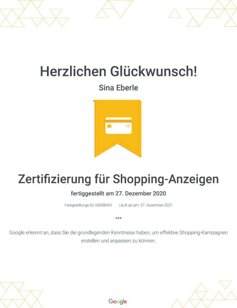 die eberin Google Zertifikate Zertifizierung für Shopping-Anzeigen _ Google